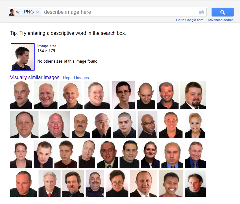 Google Search by Image thinks Will Critchlow is bald