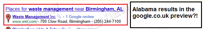 Birmingham, AL USA results in google.co.uk preview