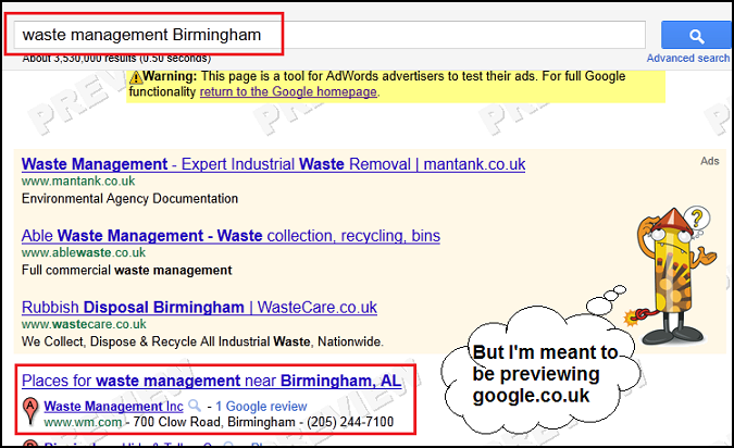 Google.co.uk Preview Results with US listings