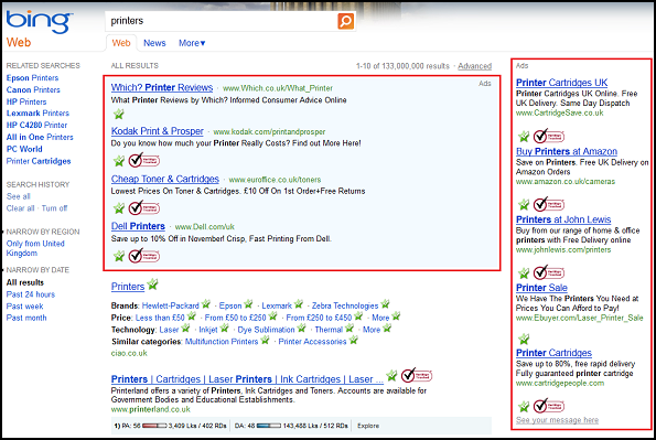 Paid ads in Bing's Search Engine Results