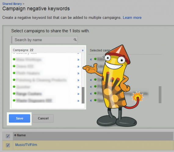 Click on the campaigns you want to apply your negative list to then hit save