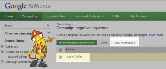 How to apply your negative lists to campaign