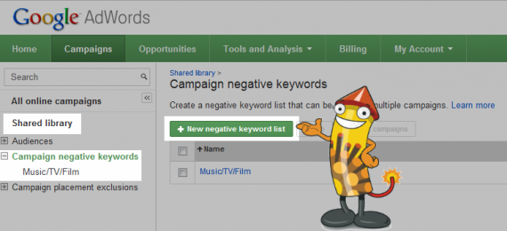 How to add a negative keyword list