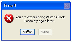 Writer's Block Error Message Popup