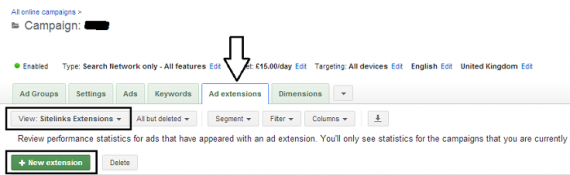 Where to find the ad extensions to set up sitelinks