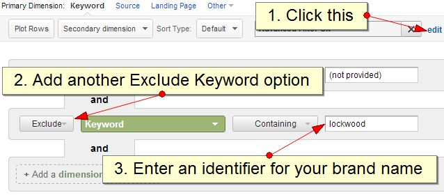 Exclude brand terms from Google Analytics keyword reports