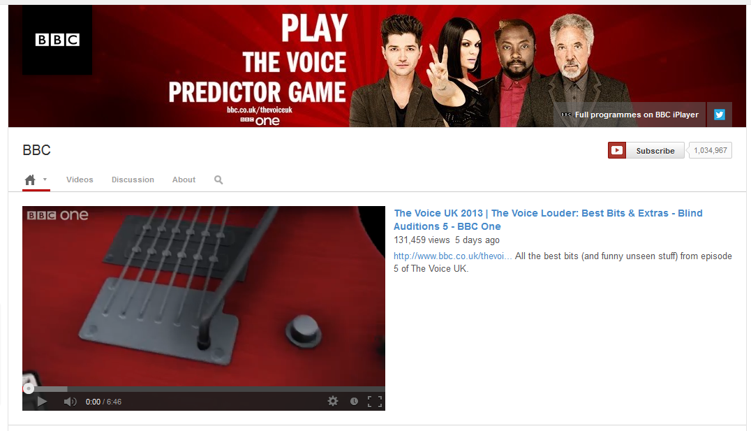 bbc Youtube Channel Layout