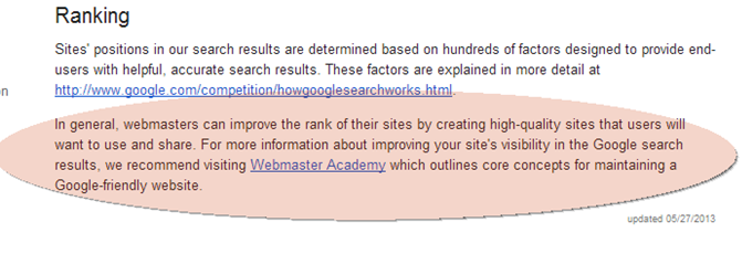 Google Ranking Article