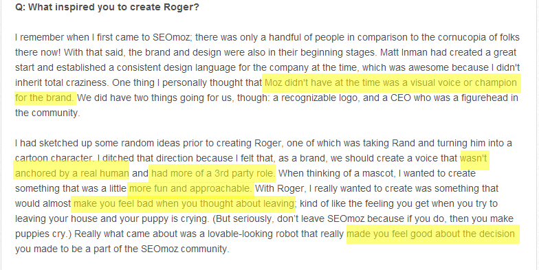 What inspired Moz's Roger
