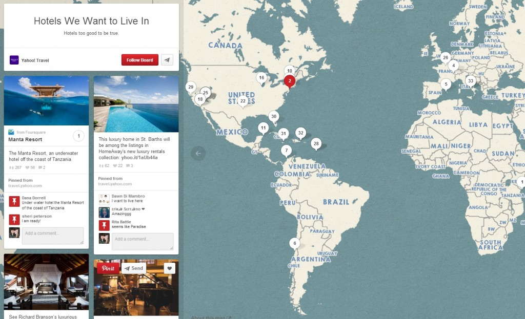 A Pinterest Places Map of Hotels We Want to Live In