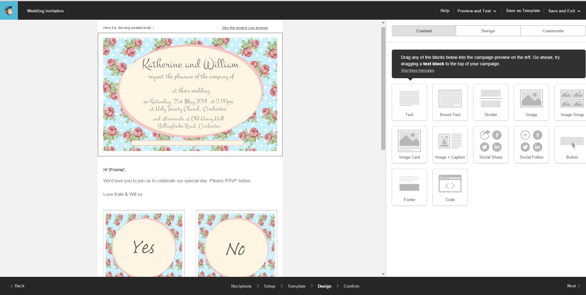 using mailchimp to plan a party or wedding   boom