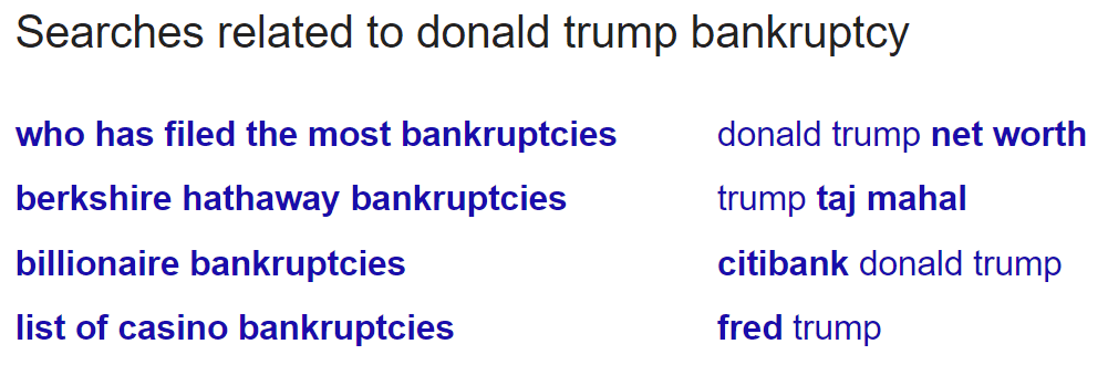 Donald Trump bankruptcy people also search for